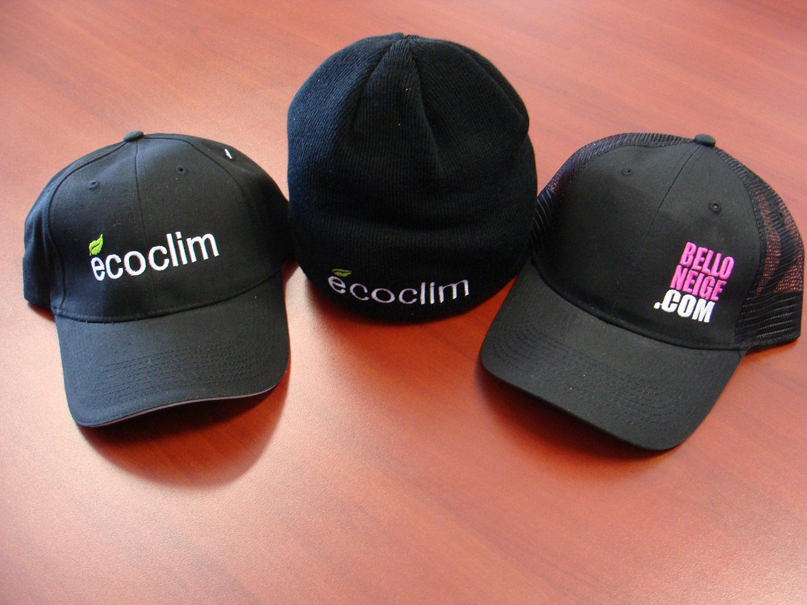 Articles promotionnels vestimentaires, pour Écoclim et BellONeige.com